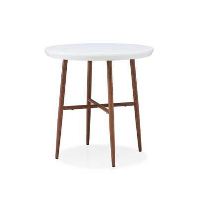 Miami White Round End Table with Brown Metal Legs, White Top With Brown Metal Legs - Home Depot