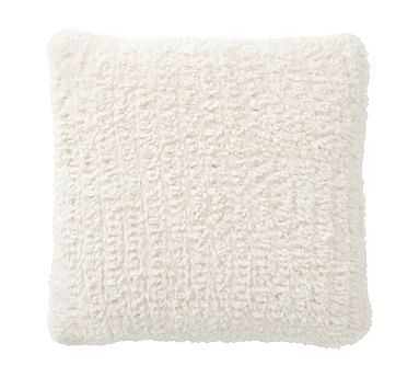 Knitted Faux Fur Pillow, 20 Inches, Ivory - Pottery Barn