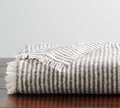 "Cozy Ticking Stripe Throw, 50 x 60"", Gray - Pottery Barn"