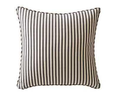 "Sateen Stripe Print Pillow Cover, 20"", Ebony - Pottery Barn"