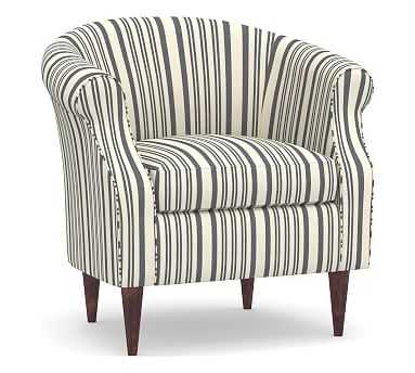 SoMa Lyndon Upholstered Armchair, Polyester Wrapped Cushions, Antique Stripe Gray - Pottery Barn