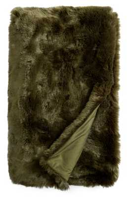 Nordstrom At Home Cuddle Up Faux Fur Throw Blanket, Size One Size - Green - Nordstrom