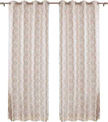Trellis Geometric Blackout Thermal Grommet Single Curtain Panel: Champagne - eBay