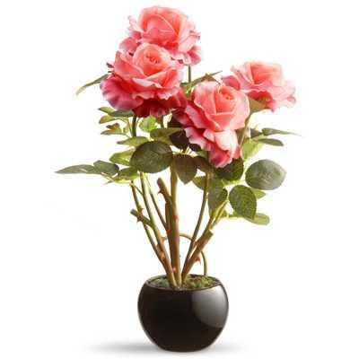 16.5 in. Pink Rose Flower - Home Depot