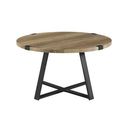 Walker Edison Furniture Company 30 in. Rustic Oak and Black Rustic Urban Industrial Wood and Metal Wrap Round Coffee Table - Home Depot