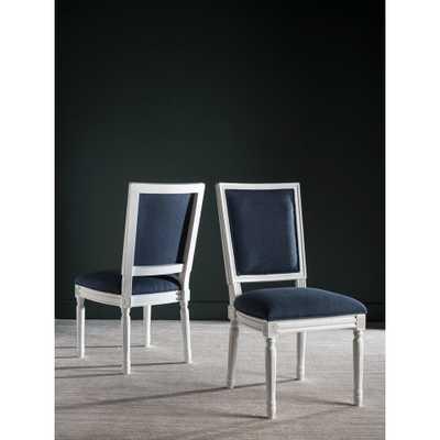 Buchanan Navy and Cream Linen Dining Chair (Set of 2), Blue/Ivory - Home Depot