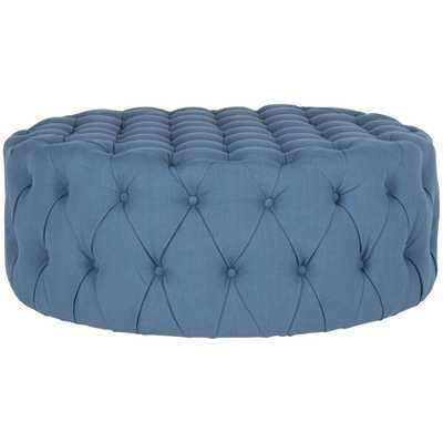 Charlene Navy (Blue) Tufted Ottoman - Home Depot
