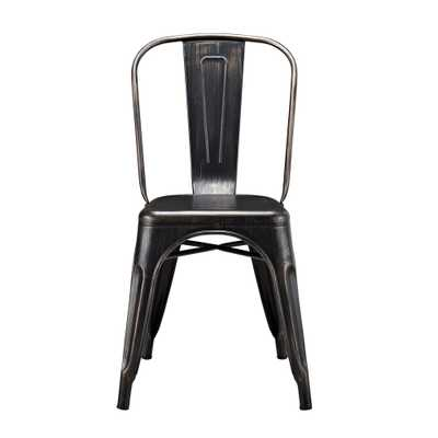 Antique Black Metal Dining Chair - Home Depot