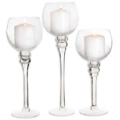 Crackled Glass Footed Hurricanes (Set of 3), Clear - Home Depot