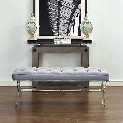 TOV-O37 Grey Velvet Acrylic Stainless Steel Finished Claira Lucite Bench - eBay
