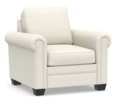 SoMa Brennan Upholstered Armchair, Polyester Wrapped Cushions, Washed Canvas Ivory - Pottery Barn