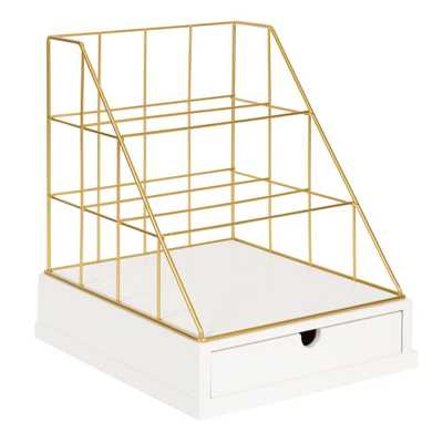 Kate and Laurel Benbrook White/Gold Metal Letter Tray - Home Depot