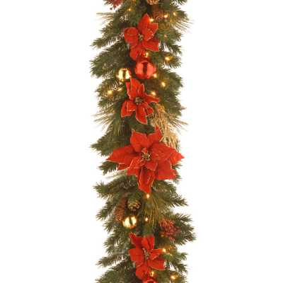 Decorative Collection 9 ft. Home Spun Garland with Clear Lights - Home Depot