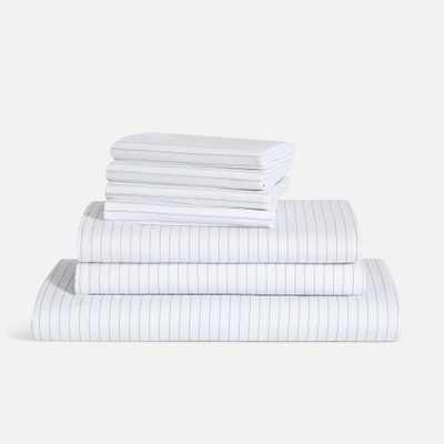 Luxe Split King Sheet Set - Smoke Stripe / Standard - Brooklinen