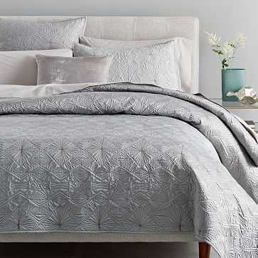 Diamond Burst Quilt, King, Feather Gray - West Elm