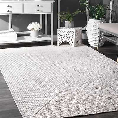 nuLOOM Braided Contemporary Modern Indoor Outdoor Area Rug in Ivory: 4' x 6' - eBay