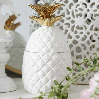 Gremillion White and Gold Ceramic Pineapple Jar - Wayfair