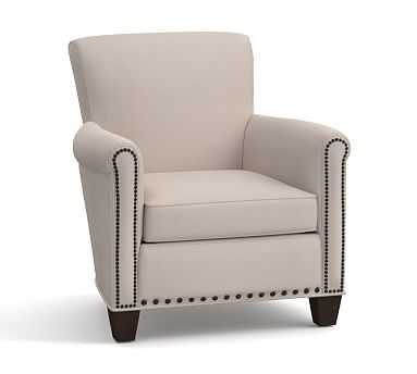 Irving Upholstered Armchair with Bronze Nailhead, Polyester Wrapped Cushions, Washed Linen/Cotton Silver Taupe - Pottery Barn