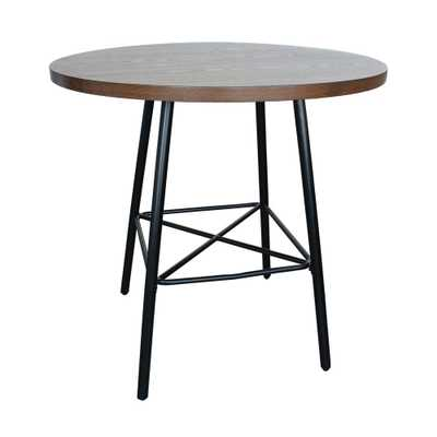 Illona Elm 36 in. Round Counter Height Bar Table, Elm Finished Table Top Black Metal Base - Home Depot
