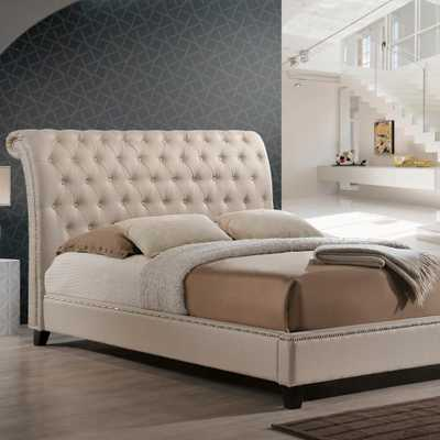 Jazmin Transitional Beige Fabric Upholstered King Size Bed - Home Depot