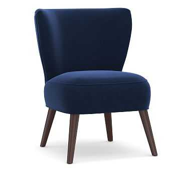 Adams Upholstered Slipper Chair, Polyester Wrapped Cushions, Performance Everydayvelvet(TM) Navy - Pottery Barn