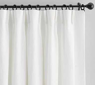 "Monique Lhuillier Miranda Velvet Trim Drape, 96"", White - Pottery Barn"