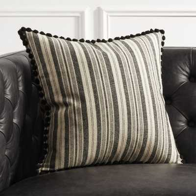 """""""18"""""""" Roulou Black and White Pom Pom Pillow with Feather-Down Insert"""" - CB2"""
