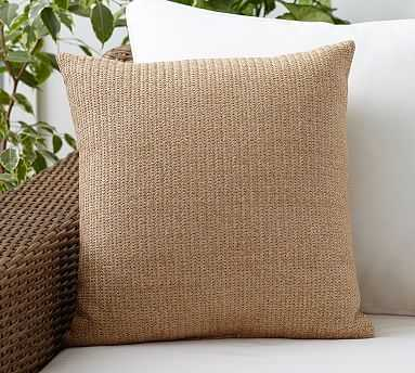 "Faux Natural Fiber Indoor/Outdoor Pillow, 18"", Natural - Pottery Barn"