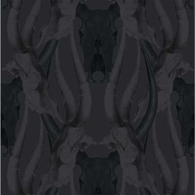 Debut Collection Bull Smoke in Black Removable and Repositionable Wallpaper - Home Depot