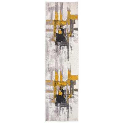 Ikbal Contemporary Modern Abstract Runner Rug 2' x 7' Gold - Home Depot