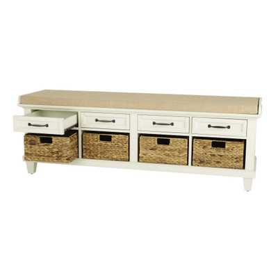 Martin Ivory Shoe Storage Bench - Home Depot