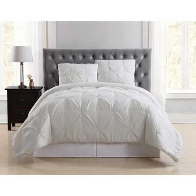 Everyday Pleated Ivory Queen/Full Comforter Set - Home Depot