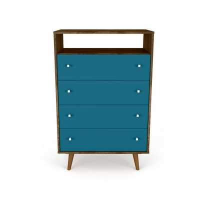 Liberty 4-Drawer Rustic Brown and Aqua Blue Dresser Chest - Home Depot
