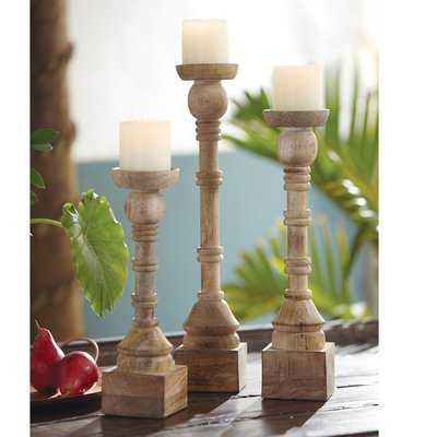 Hand Turned Mango 3 Piece Wood Candlestick Set - Birch Lane