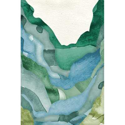 Green Abstract Mountains Painting Print on Wrapped Canvas - Wayfair