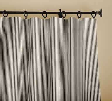 "Sateen Stripe Print Drape, 50 x 96"", Indigo - Pottery Barn"