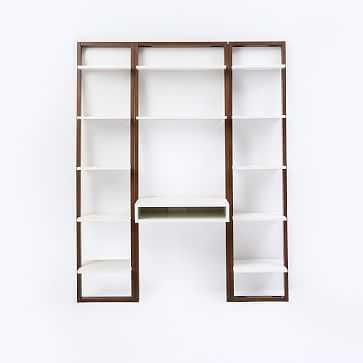 Ladder Shelf Storage Leaning Wall Desk + 2 Narrow Shelves Set 1: White Lacquer/Espresso - West Elm