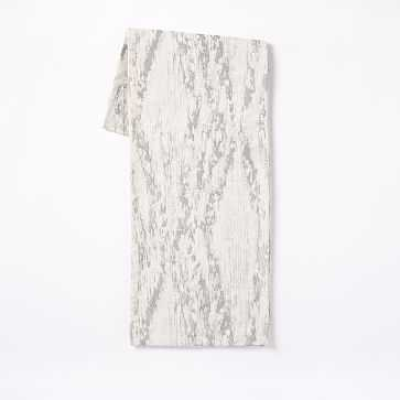 Bark Textured Table Runner, White/Silver - West Elm