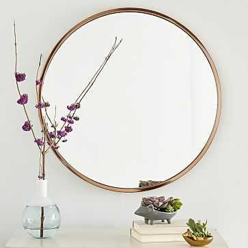 Metal Framed Mirror, Rose Gold, Round - West Elm