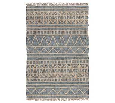 Aiken Jute Rug, 8 x 10', Blue/Natural - Pottery Barn