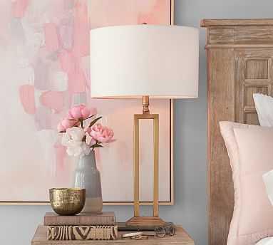 Calvin Rectangular Table Lamp, Brass Base with Medium Straight Sided Linen Drum Shade, Ivory - Pottery Barn