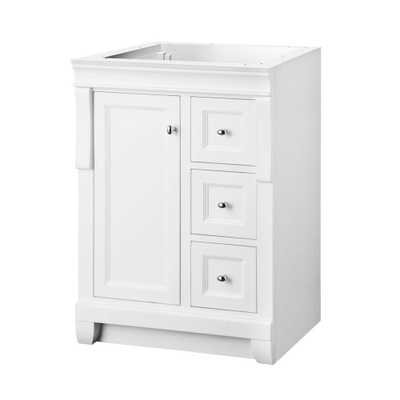 Home Decorators Collection Naples 24 in. W Bath Vanity Cabinet Only in White with Right Hand Drawers - Home Depot