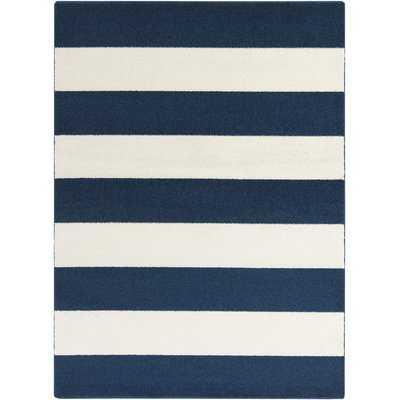 Greer Cobalt & Ivory Striped Area Rug - Wayfair