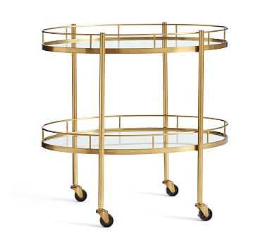 Abby Oval Bar Cart, Brass - Pottery Barn