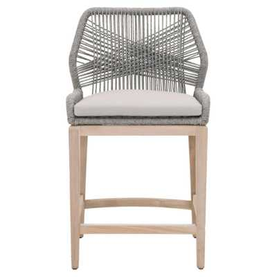 Orient Express Furniture Loom 26 in. Platinum Rope, Gray Teak Outdoor Counter Stool, White/Smoke Gray - Home Depot