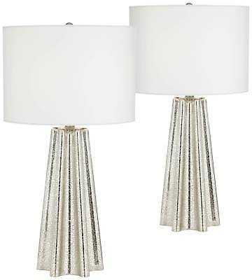 Modern Table Lamps Set of 2 Metal Fluted Mercury Glass for Living Room Bedroom - eBay