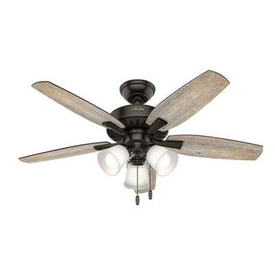 Hunter Oakfor 48 in. LED Indoor Noble Bronze Ceiling Fan with Light - Home Depot