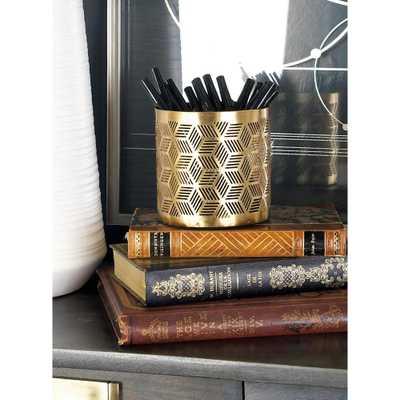 Gold Iron Geometric Lattice-Designed Round Pencil Holder, Yellows/Golds - Home Depot