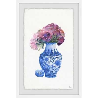 'Blue Vase and Purple Peonies' Framed Print - Wayfair