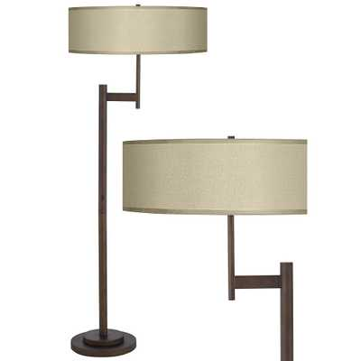 Parker Light Blaster Floor Lamp with Sesame Faux Silk Shade - Style # 9K704 - Lamps Plus